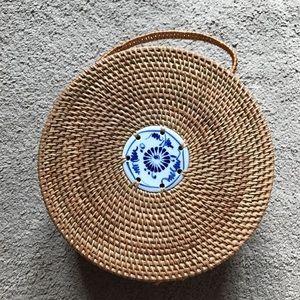 NWOT LF Blue Ceramic Rattan Circle Bag!!!